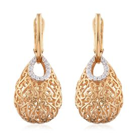 Limited Edition - J Francis - 14K Gold Overlay Sterling Silver (Rnd) Filigree Earrings (with Clasp Lock) Made with SWAROVSKI ZIRCONIA