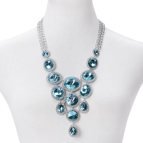 Simulated Blue Diamond BIB Necklace (Size 22 with 2 inch Extender) in Silver Tone