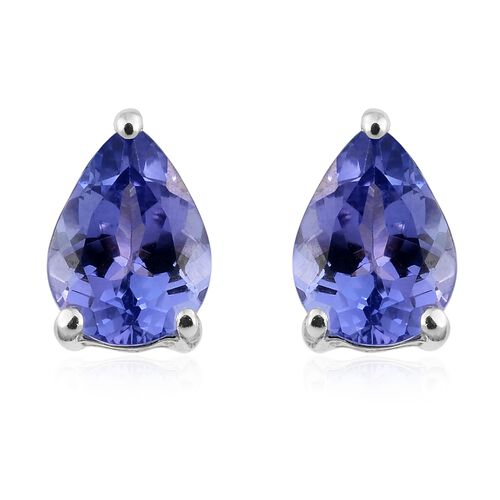 9K White Gold 1.25 Ct AA Tanzanite Solitaire Stud Earrings (with Push Back)