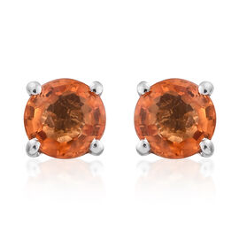 ILIANA 18K White Gold 1 Carat AAA Orange Sapphire (Rnd) Stud Earrings (with Screw Back)