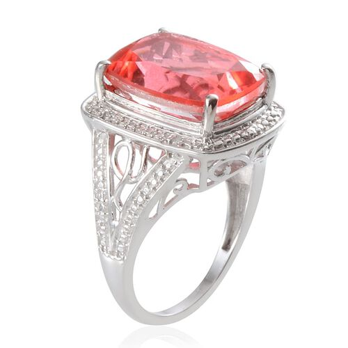 Padparadscha Colour Quartz (Cush 11.75 Ct), Diamond Ring in Platinum Overlay Sterling Silver 11.780 Ct.