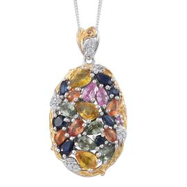 Yellow Sapphire (Pear), Kanchanaburi Blue Sapphire, Pink Sapphire, Orange Sapphire and Multi Gem Stone Pendant with Chain in Platinum and Yellow Gold Overlay Sterling Silver 5.01 Ct.