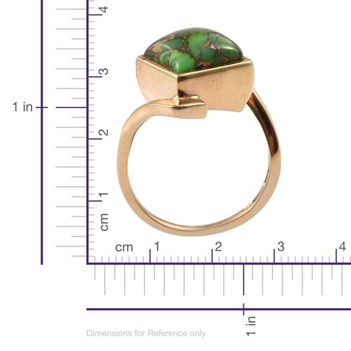 Mojave Green Turquoise (Sqr) Solitaire Ring in 14K Gold Overlay Sterling Silver 5.000 Ct.