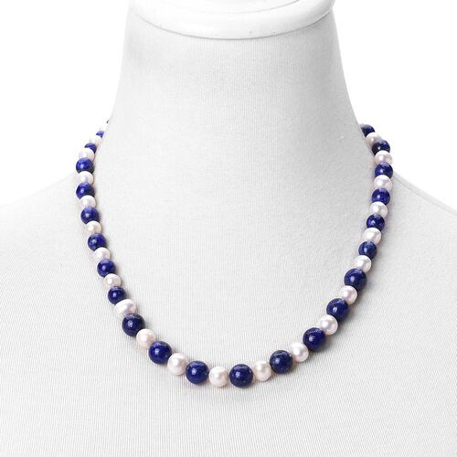 Limited Edition One Of a Kind- Lapis Lazuli and Fresh Water White Pearl Beads Necklace (Size 20 with 2 inch Extender) 235.000 Ct.