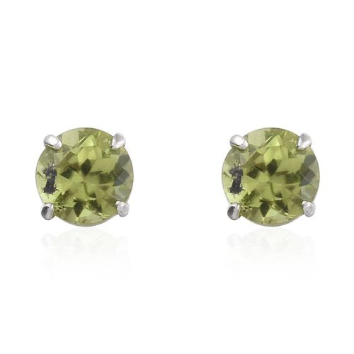 Set of 3 - Hebei Peridot (Rnd), Mozambique Garnet and Amethyst Stud Earrings (with Push Back) in Platinum Overlay Sterling Silver 3.000 Ct.
