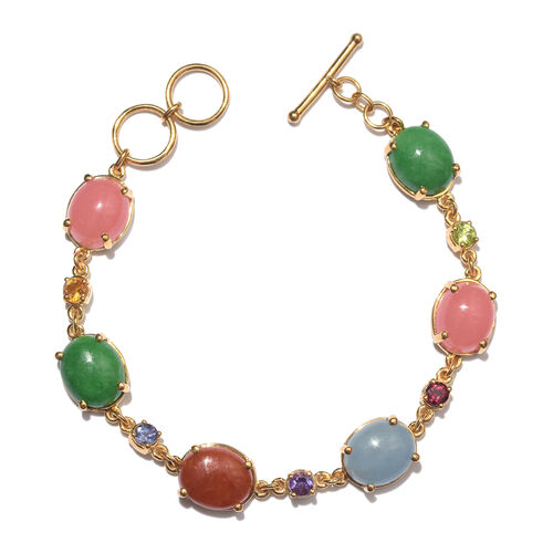 Pink, Blue, Red, Green Jade (Ovl) and Multi Gem Stone Bracelet (Size 7.5) in 14K Gold Overlay Sterling Silver 36.000 Ct. Silver wt 9.82 Gms.