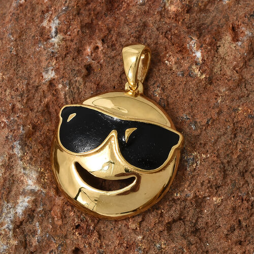 14K Gold Overlay Sterling Silver Smiling Face with Sunglasses Smiley Pendant