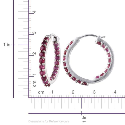 Webex-African Ruby (Rnd) Hoop Earrings (with Clasp) in Platinum Overlay Sterling Silver 3.250 Ct.