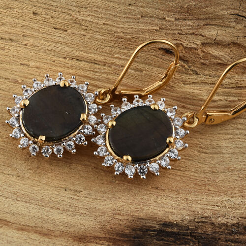 Natural Spectrolite (Ovl), Natural Cambodian Zircon Lever Back Earrings in 14K Gold Overlay Sterling Silver 5.750 Ct.