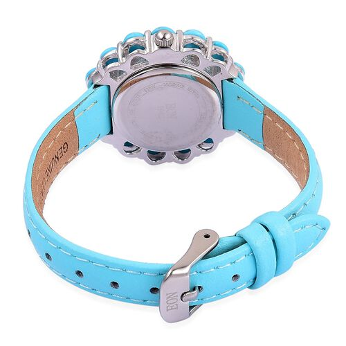 EON 1962 Japanese Movement SLEEPING BEAUTY TURQUOISE (15.00 Ct), Turquoise Dial Water Resistant Watch in Gold Overlay Sterling Silver with Steel Turquoise Leather Strap (Silver wt 21.11 Gms)