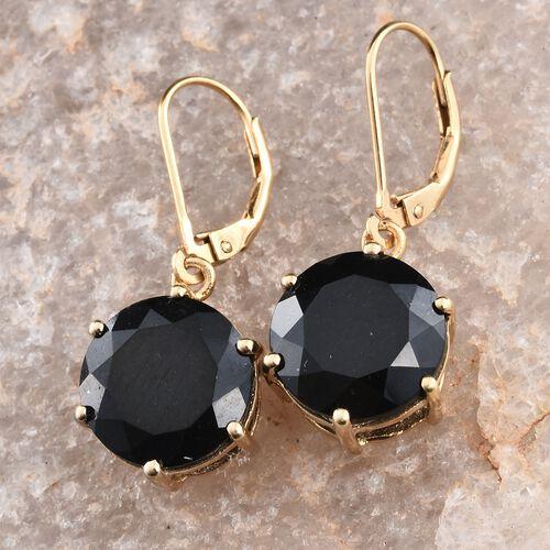 Black Tourmaline (Rnd) Lever Back Earrings in 14K Gold Overlay Sterling Silver 12.500 Ct.