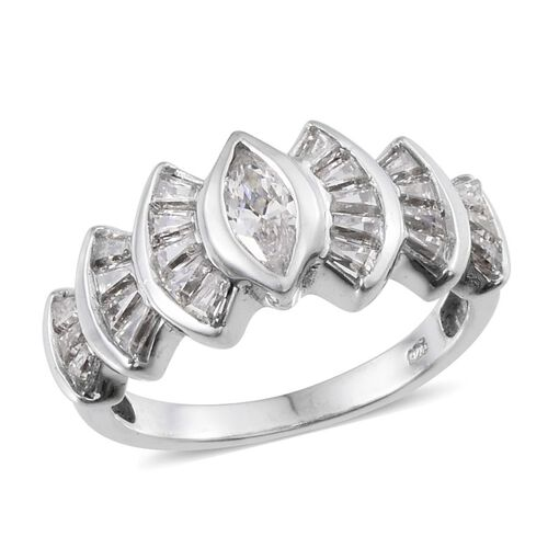 J Francis - Platinum Overlay Sterling Silver (Mrq) Ring Made with SWAROVSKI ZIRCONIA