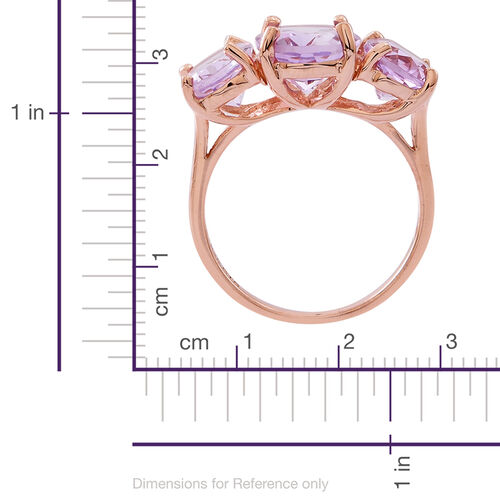 Rose De France Amethyst (Ovl 3.25 Ct) 3 Stone Ring in Rose Gold Overlay Sterling Silver 6.500 Ct.