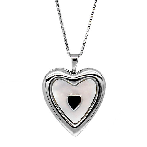 Mother of Pearl Heart Locket Pendant with Chain in Rhodium Plated Sterling Silver