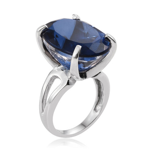 Ceylon Colour Quartz (Ovl) Ring in Platinum Overlay Sterling Silver 17.750 Ct.