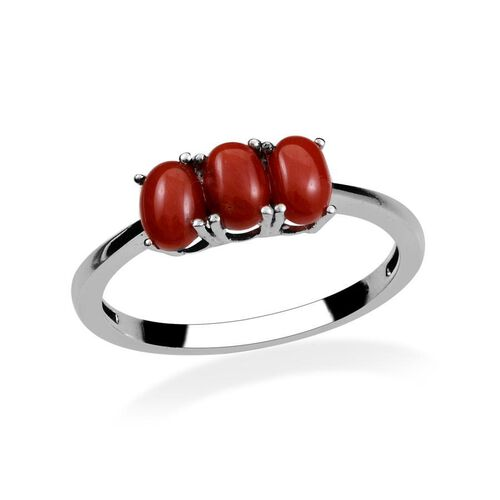 Natural Mediterranean Coral (Ovl) Trilogy Ring in Platinum Overlay Sterling Silver 1.650 Ct.