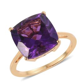 5 Carat Amethyst Silver Solitaire Ring in Gold Overlay