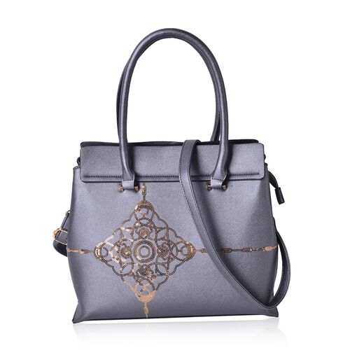 Metallic Grey Colour Golden Sequin Art Embellished Tote Bag with External Zipper Pocket and Removable Shoulder Strap (Size 32.5X29X13 Cm)