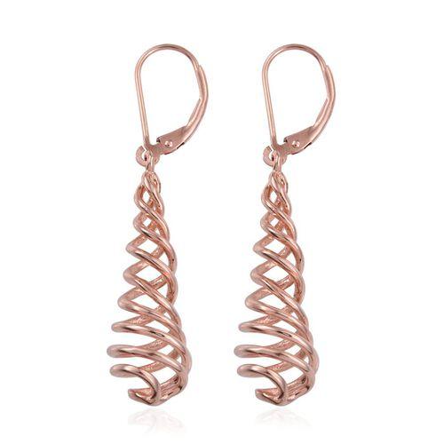 Designer Inspired Rose Gold Overlay Sterling Silver Swirl Lever Back Earrings, Silver wt 4.87 Gms.