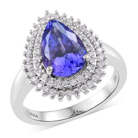 ILIANA 18K White Gold 3.75 Ct AAA Tanzanite Halo Ring with two row Diamond SI G-H
