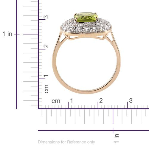 9K Yellow Gold AAA Hebei Peridot (Cush 3.05 Ct), Natural Cambodian Zircon Ring 4.750 Ct.