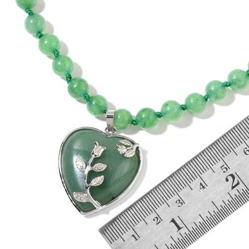 Green Aventurine Heart Necklace (Size 20 with 2 inch Extender) in Silver Tone 231.000 Ct.