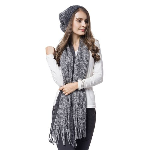 Designer Inspired-Grey Colour Knitted Scarf with Tassels (Size 166X16 Cm) and Hat (Size 30X22 Cm)