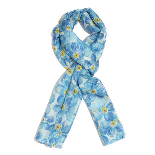 100% Mulberry Silk Blue, Yellow and Multi Colour Floral Pattern Scarf (Size 180x50 Cm)