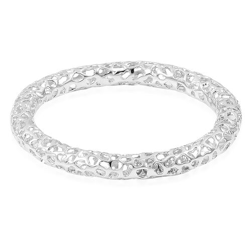 RACHEL GALLEY Rhodium Plated Sterling Silver Lattice Bangle (Size 8/ Large), Silver wt. 43.32 Gms.