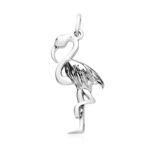 Silver Crane Bird Pendant in Platinum Overlay, Silver wt 3.22 Gms.