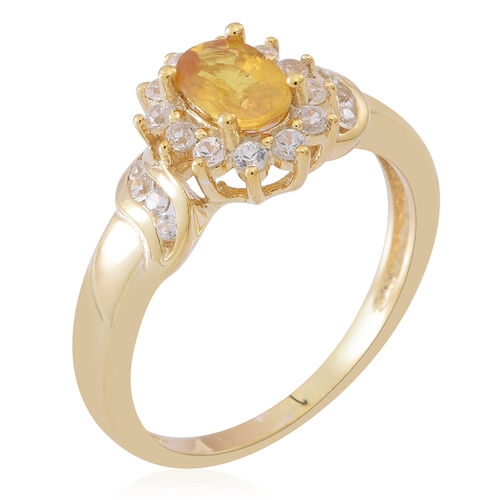 Chanthaburi Yellow Sapphire (Ovl 1.15 Ct), Natural Combodian White Zircon Ring in 14K Gold Overlay Sterling Silver 2.000 Ct.