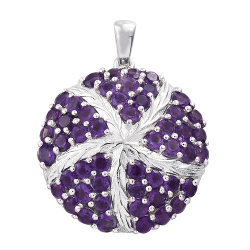 Amethyst (Rnd) Star Fish Pendant in Platinum Overlay Sterling Silver 3.500 Ct.