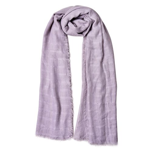 Grey Colour Stripes Pattern Scarf with Fringes (Size 184X93 Cm)