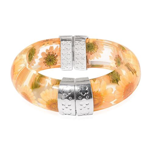Designer Inspired-Natural Orange Daisy Flower Preserved Bangle (Size 8) in Silver Tone