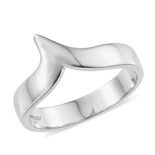Rhapsody platinum wishbone band ring wt