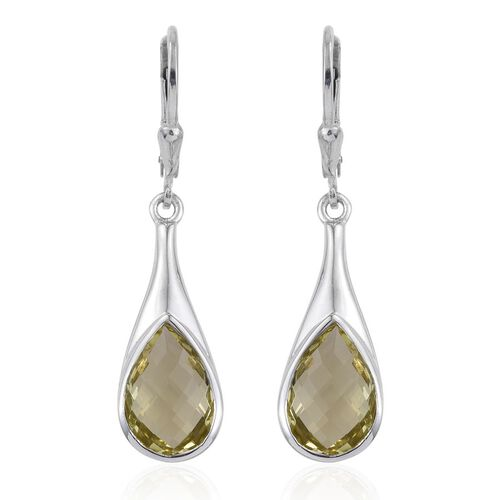 Natural Ouro Verde Quartz (Pear) Lever Back Earrings in Platinum Overlay Sterling Silver 5.750 Ct.