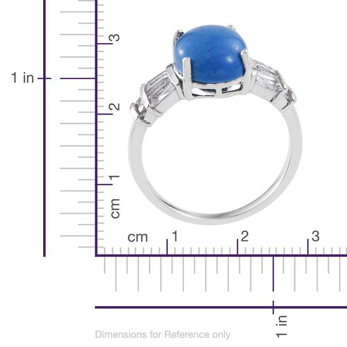 Ceruleite (Ovl 4.25 Ct), White Topaz Ring in Platinum Overlay Sterling Silver 5.400 Ct.