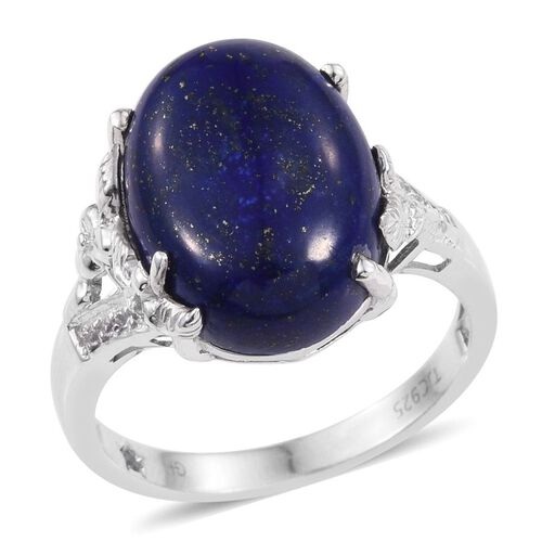 GP Lapis Lazuli (Ovl 14.40 Ct), Kanchanaburi Blue Sapphire and White Topaz Ring in Platinum Overlay Sterling Silver 14.500 Ct.