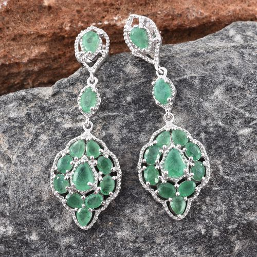 Kagem Zambian Emerald (Pear) Dangle Earrings (with Push Back) in Platinum Overlay Sterling Silver 4.500 Ct. Silver wt 7.41 Gms.