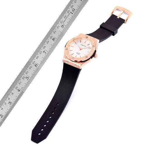 BASELWORLD Inspired - STRADA Japanese Movement White Dial Watch in Rose Gold Tone bezel with Black Silicone Strap
