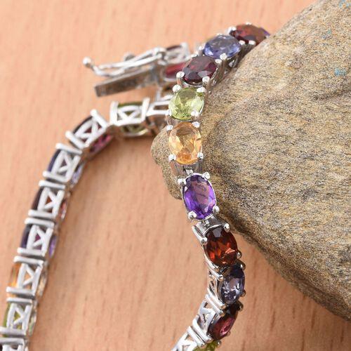 Mozambique Garnet (Ovl), Rhodolite Garnet, Hebei Peridot, Amethyst, Citrine and Iolite Bracelet (Size 8) in Platinum Overlay Sterling Silver 14.500 Ct.