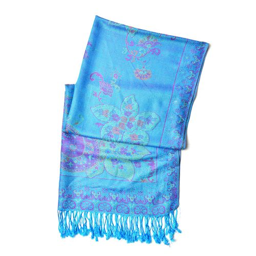 Blue, Purple and Multi Colour Floral and Paisley Pattern Scarf with Tassels (Size 170X68 Cm)