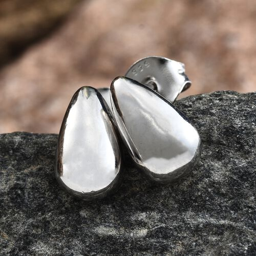 Pear Stud Earrings (with Push Back) in Platinum Plated Silver