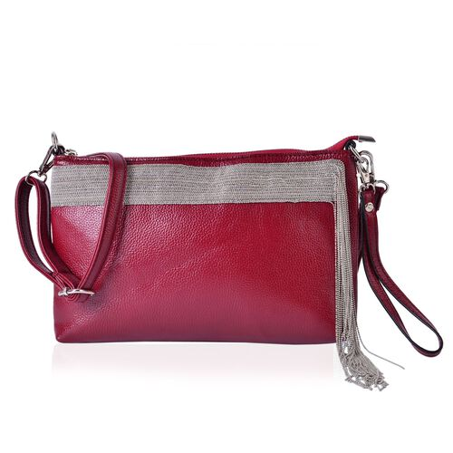 Classic Red Silver Beads Tassels Crossbody Bag with Adjustable and Removable Shoulder Strap (Size 28x18x3 Cm)