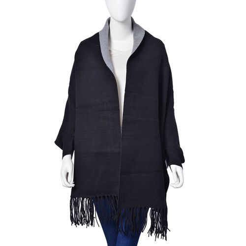 Designer Inspired - Black Colour Kimono with Tassels (Free Size)