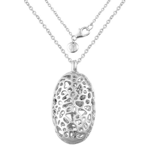 RACHEL GALLEY Rhodium Plated Sterling Silver Charmed Pebble Locket Pendant with Chain (Size 30), Silver Wt 24.00 Gms.