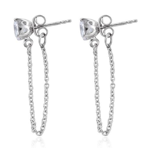 J Francis - Platinum Overlay Sterling Silver (Rnd) Drape Chain Earrings (with Push Back) Made with SWAROVSKI ZIRCONIA