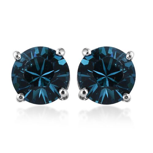 Crystal from Swarovski - Indicolite Colour Crystal (Rnd) Stud Earrings (with Push Back) in Platinum Overlay Sterling Silver