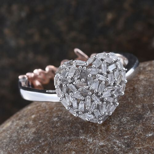 GP Diamond (Bgt), Kanchanaburi Blue Sapphire Heart and Love Ring in Platinum and Rose Gold Overlay Sterling Silver 0.360 Ct.