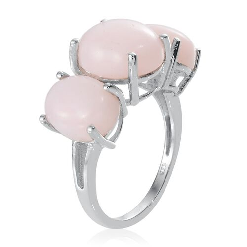Peruvian Pink Opal (Ovl 3.00 Ct) 3 Stone Ring in Platinum Overlay Sterling Silver 6.750 Ct.
